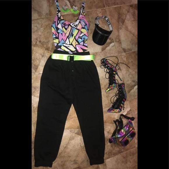 NWT Black button up chic sweatpants w/ cuffed hem
